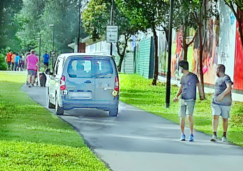 Van drives on PCN in Punggol, draws stares and scoldings from pedestrians, posted on Sunday, 07 February 2021