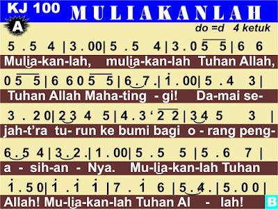 Lirik dan Not Kidung Jemaat 100 Muliakanlah