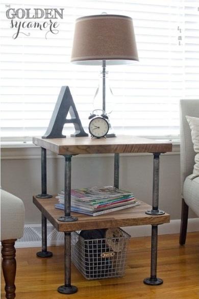 Meja samping terbuat dari pipa baja/besi