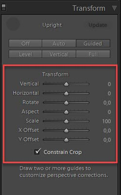 Manual transform options in the Transform panel to fine tune perspective correction