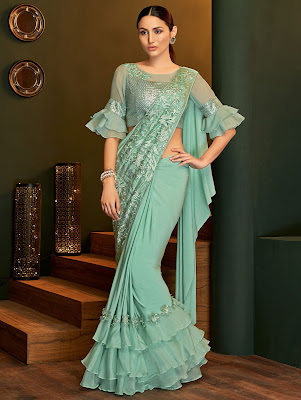 Sea Green Lycra Pre Stitched Tiered Ruffle Saree with Beads party Wear