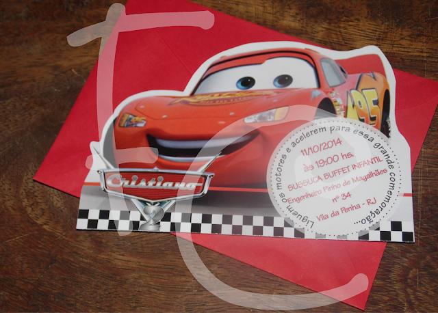 Convite Formato McQueen - Carros Disney - Cars