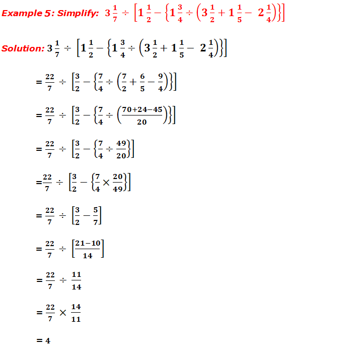 Example 5: Simplify fractions
