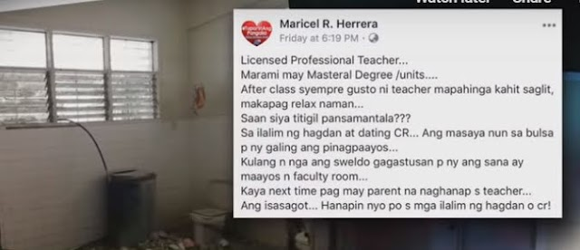 Teachers use renovated toilets as faculty area in Cavite school