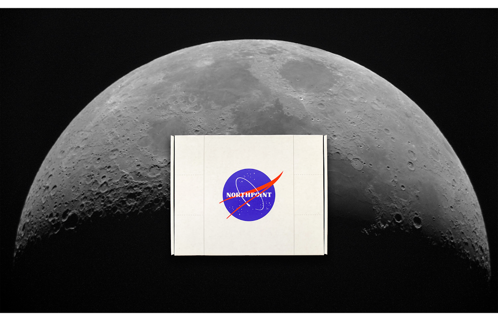An image of the moon with a box designed to look like a spaceship in front of it