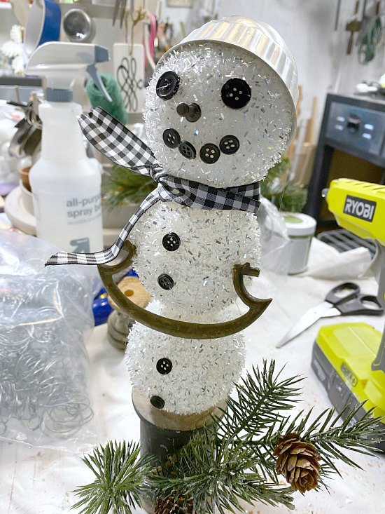 Junky snowman built from parts from around the workshop