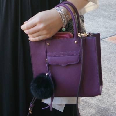 bracelet stack with Rebecca Minkoff mini MAB tote in plum on wrist | awayfromtheblue