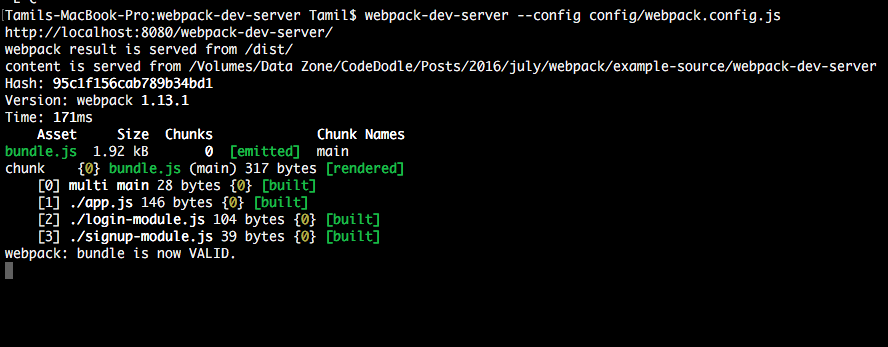 Running webpack-dev-server