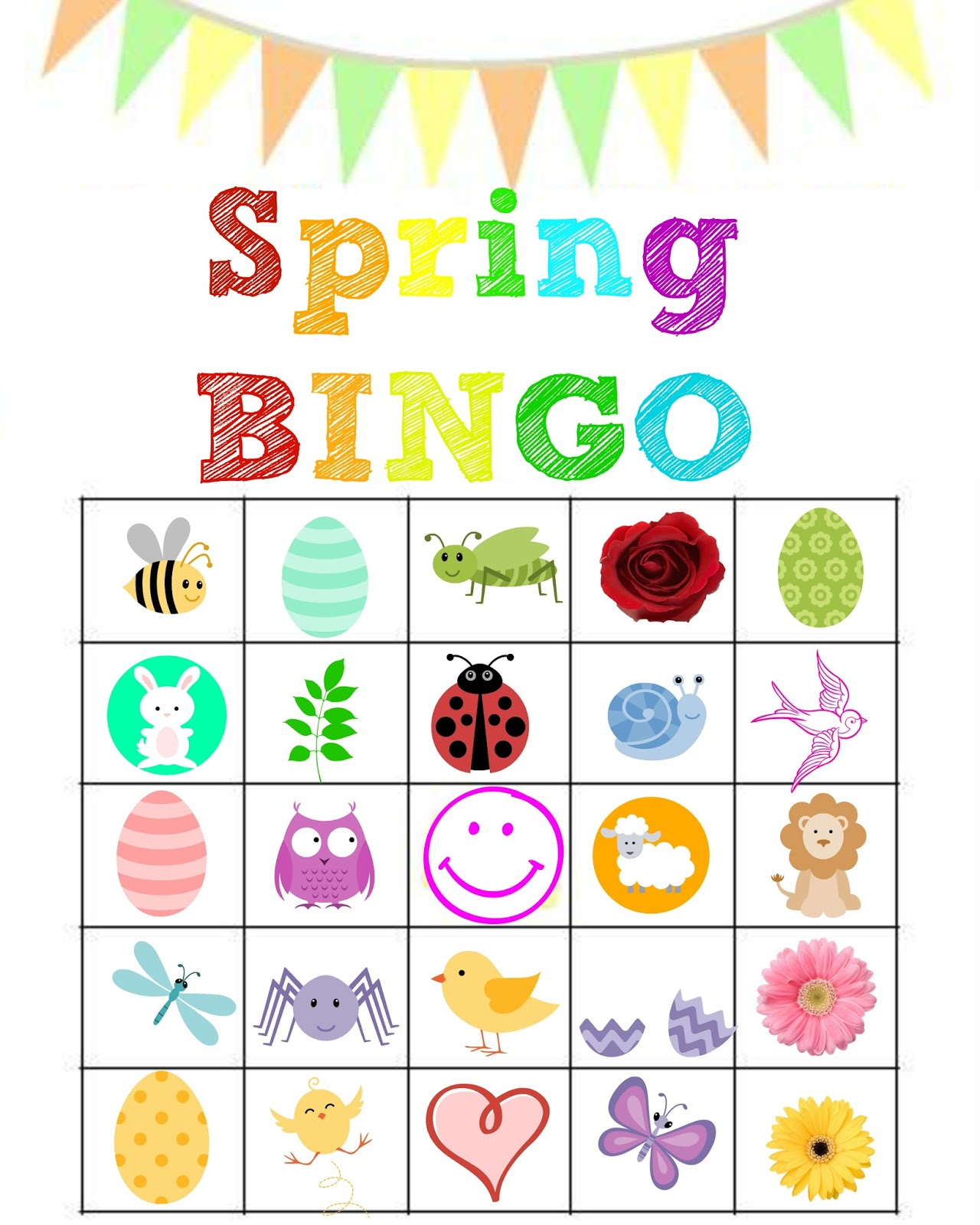 Critical image throughout spring bingo game printable