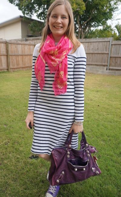 alexander mcqueen skull scarf pink with purple balenciaga work bag navy white stripe long sleeve tee dress and high tops   awayfromblue