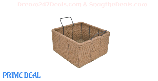 40%OFF Hand-Woven Square Basket with Handles