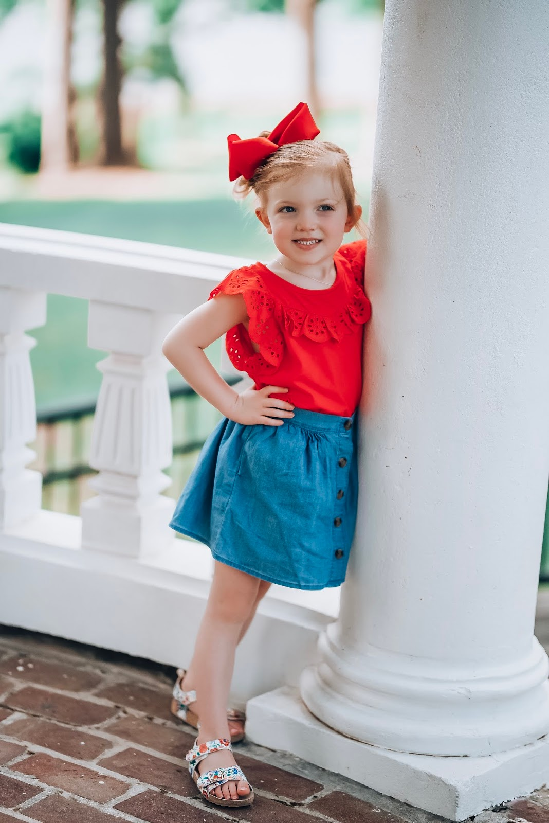 The Best Way to Wear Chambray: Toddler Girl Style Chambray Skirt + Red Eyelet Top - Something Delightful Blog