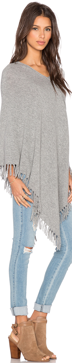 CENTRAL PARK WEST WHISTLER CASHMERE FRINGE PONCHO