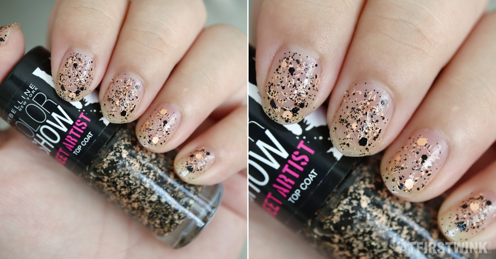 Maybelline Color show street artist top coat 03 - urban vibe nail swatch