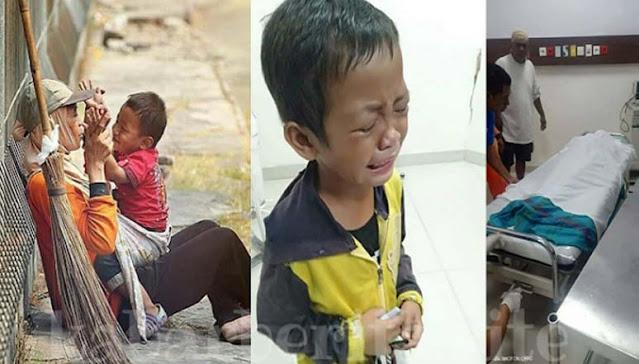 Bocah Kecil Penyapu Jalanan Menangis Saat Tahu Ibunya Meninggal Jadi Korban Tabrak Lari