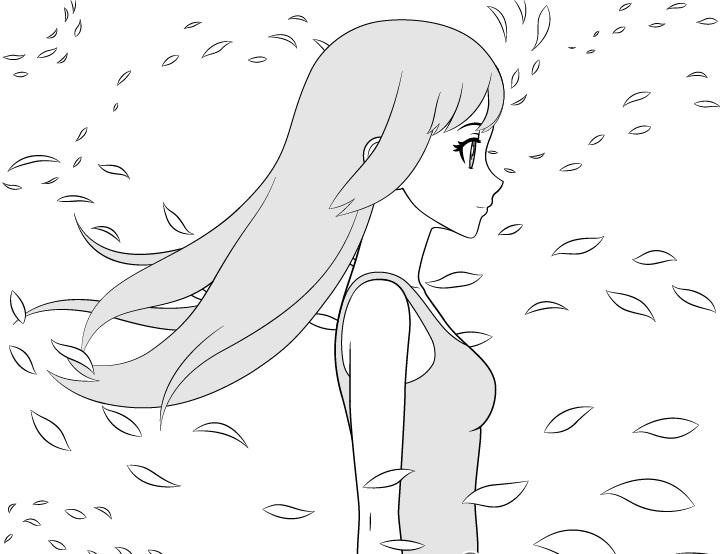 Gadis anime menggambar angin