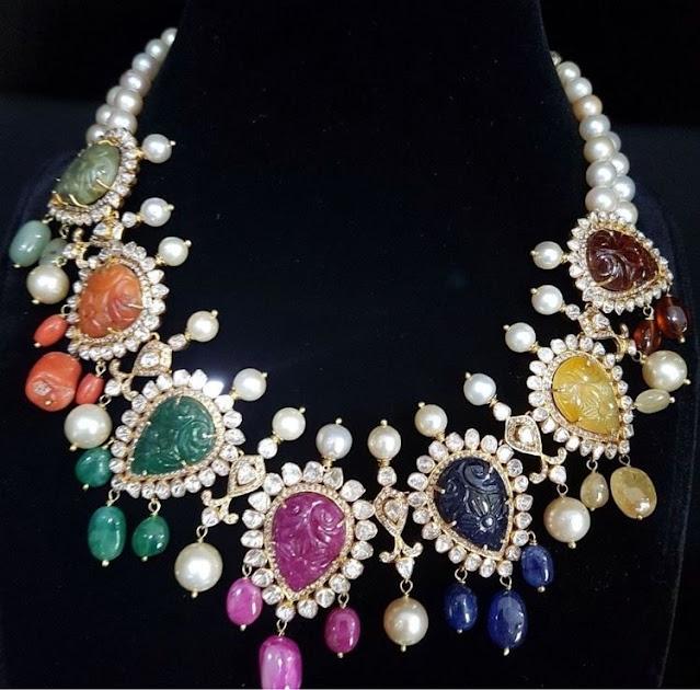 Colorful Navaratan Gemstone Necklace