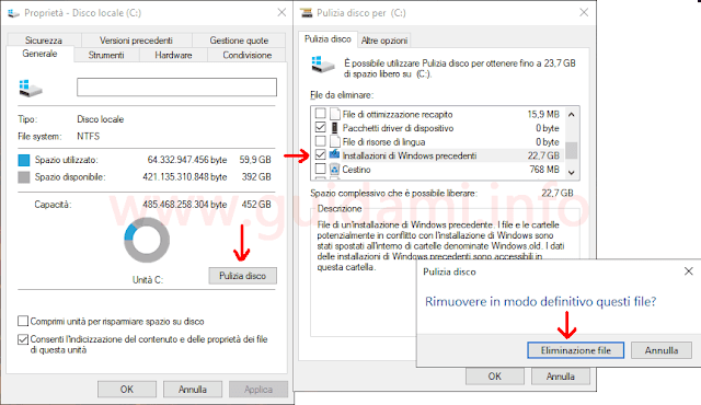 Windows 10 Pulizia file di sistema installazioni di Windows precedenti
