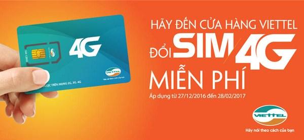 Viettel miễn phí đổi sim 4G từ 27/12/2016 -28/2/2017