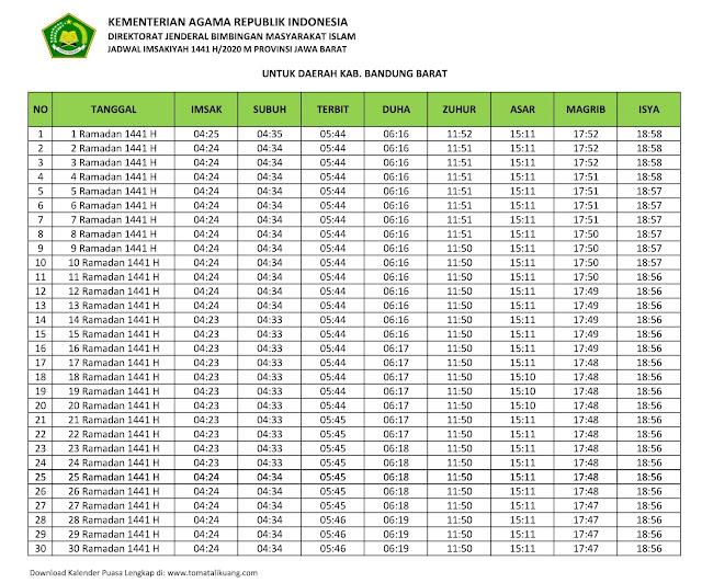 jadwal imsakiyah ramadhan buka puasa Kabupaten Bandung Barat 2020 m 1441 h tomatalikuang.com