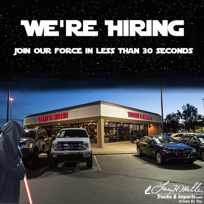 Larry H. Miller Used Car Supermarkets: Now Hiring