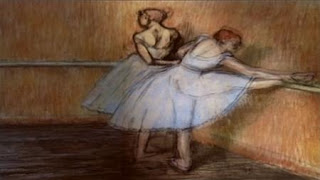 Zoe narrates an animation of a ballet painting by Edgar Degas. sesame street zoe's dance moves