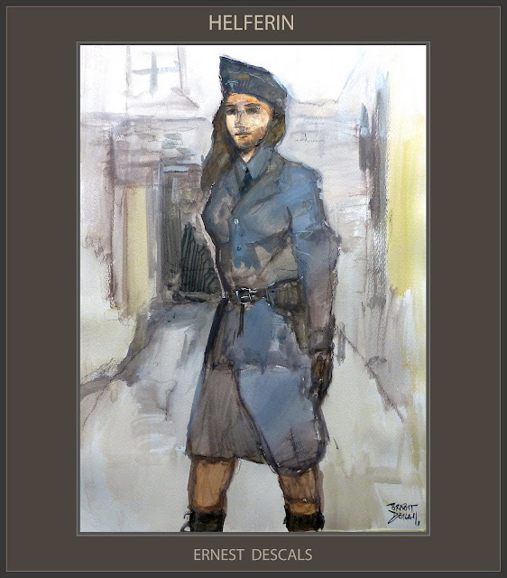 HELFERIN-PINTURA-ARTE-MUJERES-LUTWAFFE-HISTORIA-ALEMANIA-III REICH-ART-WOMEN-GERMANY-HISTORY-ARTISTA-PINTOR-ERNEST DESCALS-