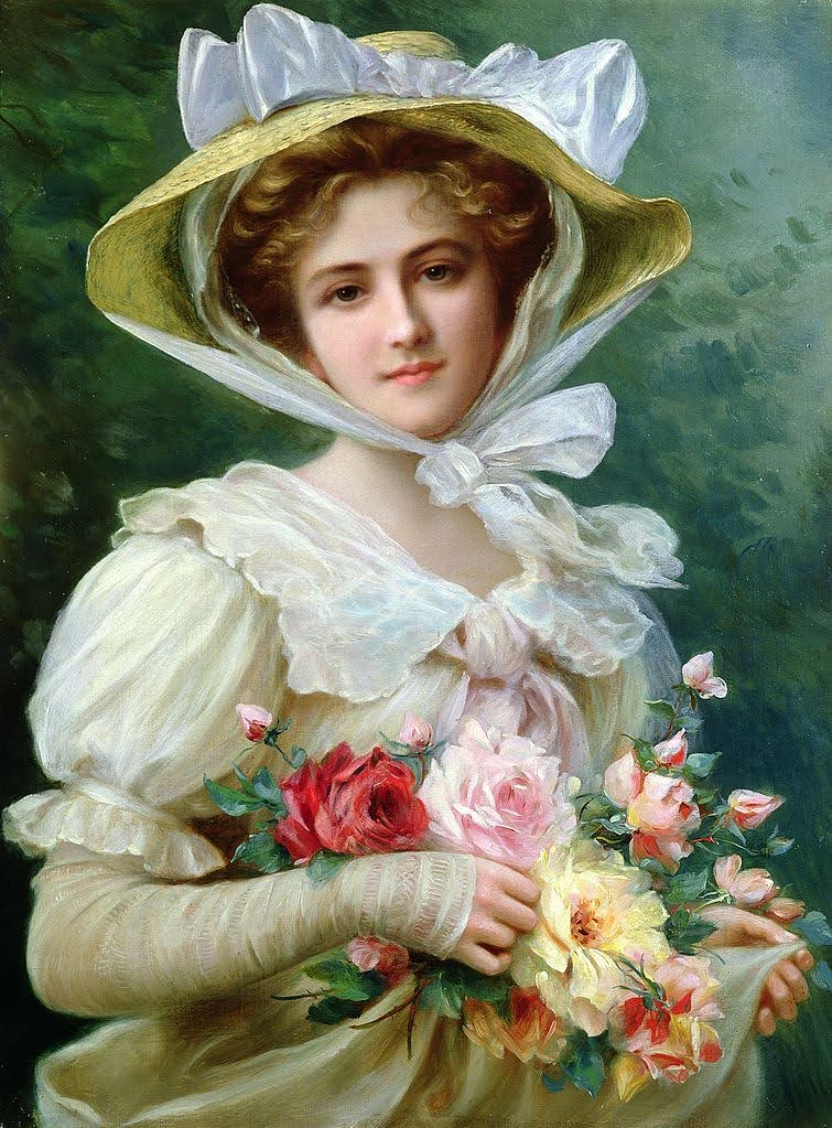 Elegant Lady with a Bouquet of Roses