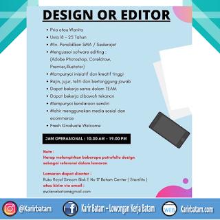 Lowongan Kerja Design or Editor