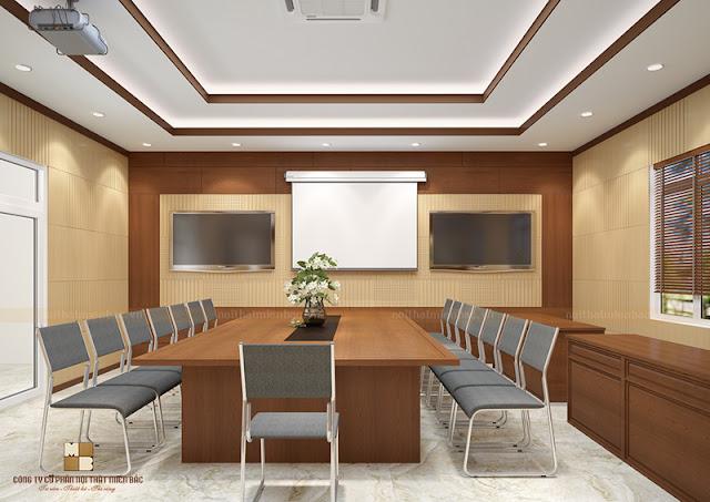 Nội thất gỗ vốn là sự lựa chọn quen thuộc của các thiết kế văn phòng hiện nay trong đó có các thiết kế nội thất phòng họp