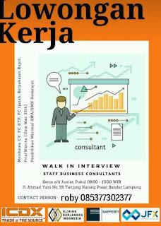 Walk In Interview Sebagai Staff Consultants di Bandar Lampung Terbaru Juni 2018
