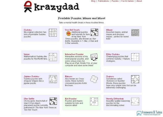 Krazydad : des milliers de jeux de logique et de réflexion gratuits (puzzle, sudoku, labyrinthe, etc)