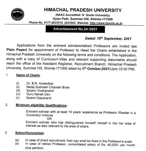 HPU Shimla Recruitments 2021 | Professor to Head the Chairs Recruitment 2021 | Himachal Pariksha
