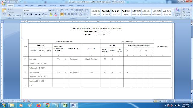 Contoh Laporan Bulanan Daftar Hadir Kerja Pegawai Sekolah doc