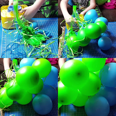 Bunch O Balloons Party pump demonstration collage showing balloons inflating