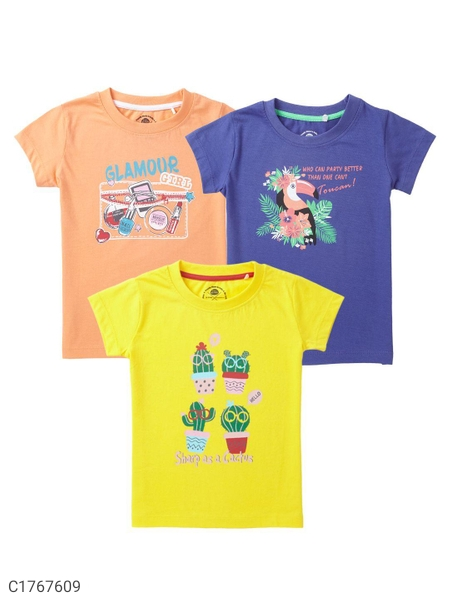 4 to 11 Years Old Girls Cub McPaws Cotton T-Shirts-Pack of 3 | T-shirt For Kids Online Shopping | Girls T-shirt Online