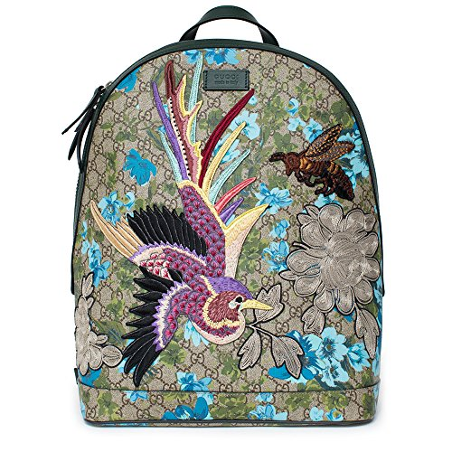 b8b965cea330 Gucci XL GG Floral Print Backpack Bag Leather Spring Embroidery Bird Italy  New 2019