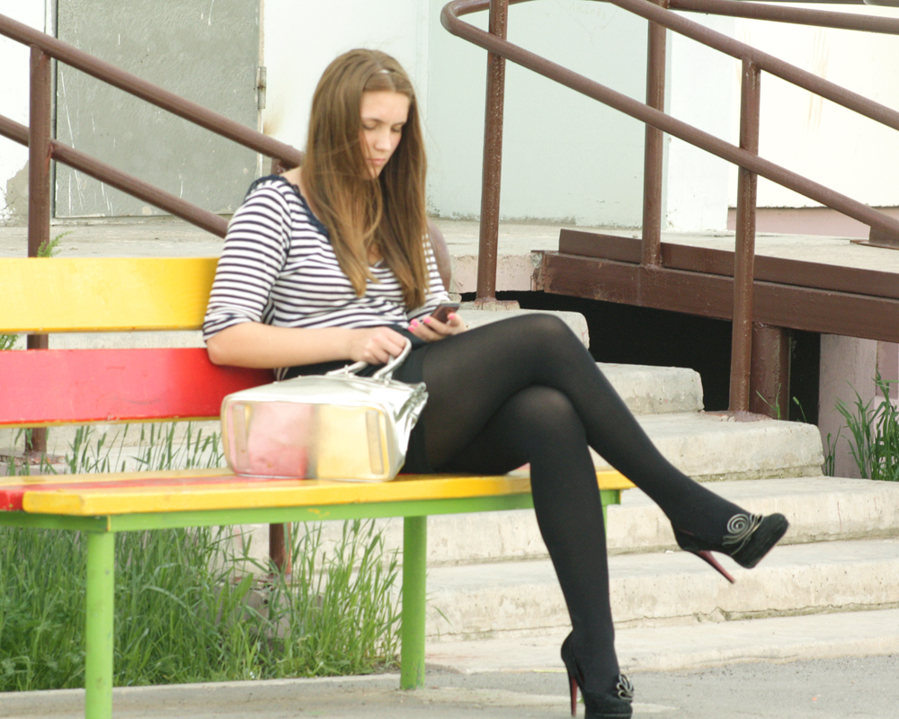 High Heels Look Women In Skirt Dress And Tights Fashion