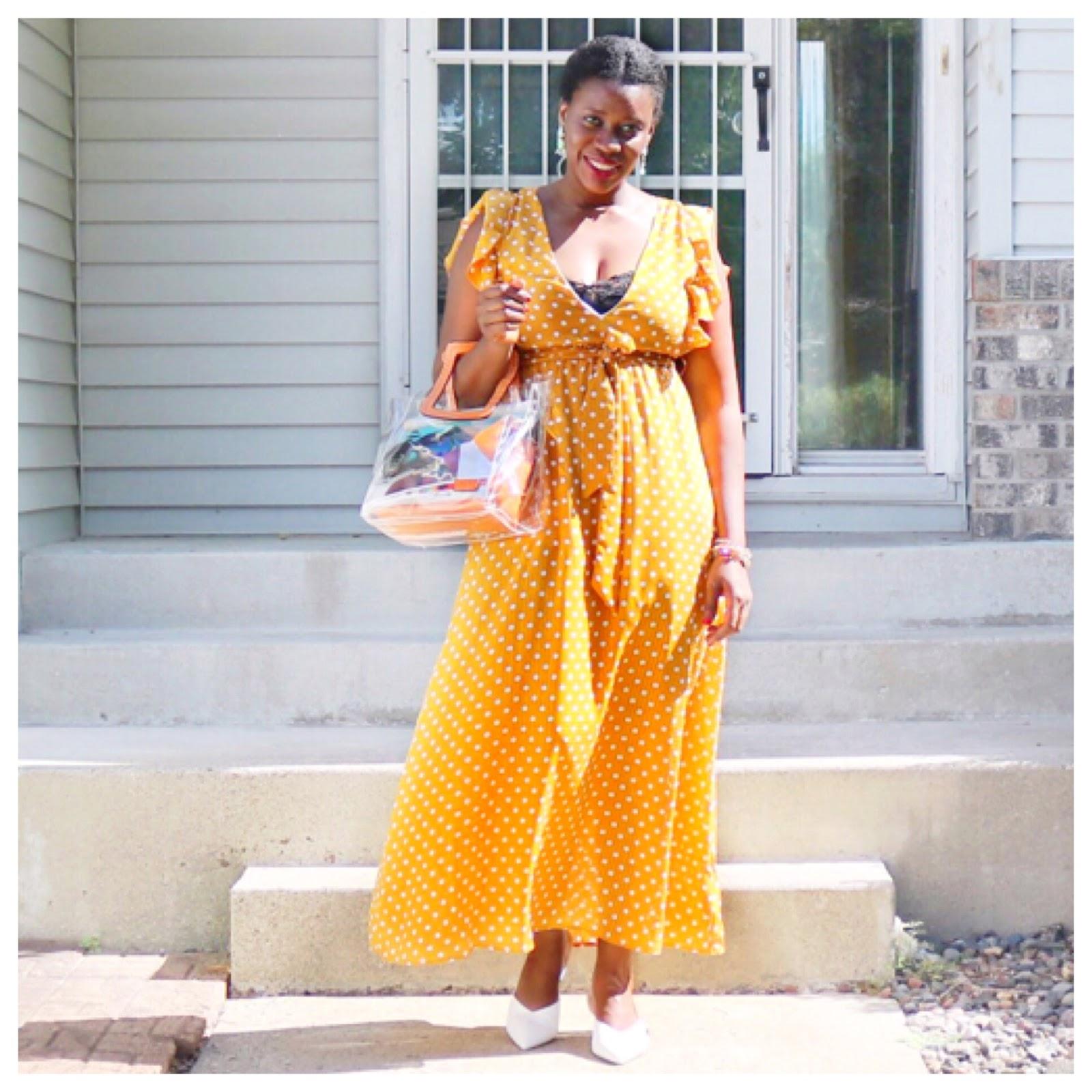 Fashion Beauty Zone: Beauty's Fashion Zone: Yellow Polka Dots Maxi Dress