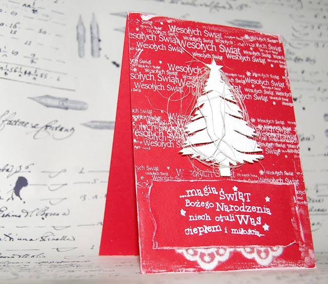 kartka świąteczna z choinką