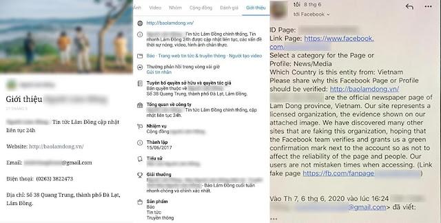 Fanpage N.L.Đ đăng tải các thông tin về địa chỉ, số điện thoại, website, số giấy phép nhằm giả mạo Báo Lâm Đồng điện tử