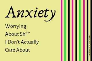 'Anxiety: Worrying About Sh** I Don't Actually Care About' title image with multi-coloured stripes on right-hand side