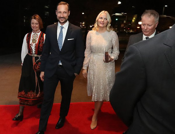 Crown Princess Mette-Marit wears ERDEM Rhona Silver Metallic Floral Lace Dress and Christian Louboutin Pumps
