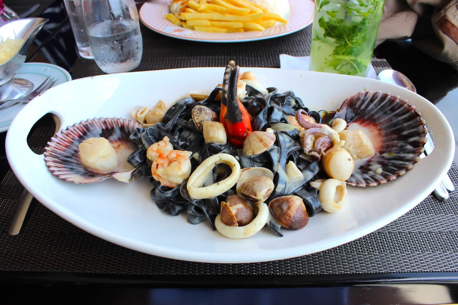 black pasta with seafood in vivaldino
