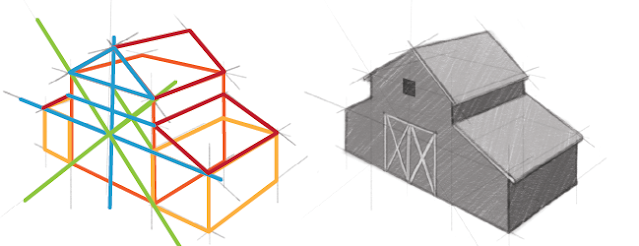 The underlying structure of a barn drawn using simple forms.