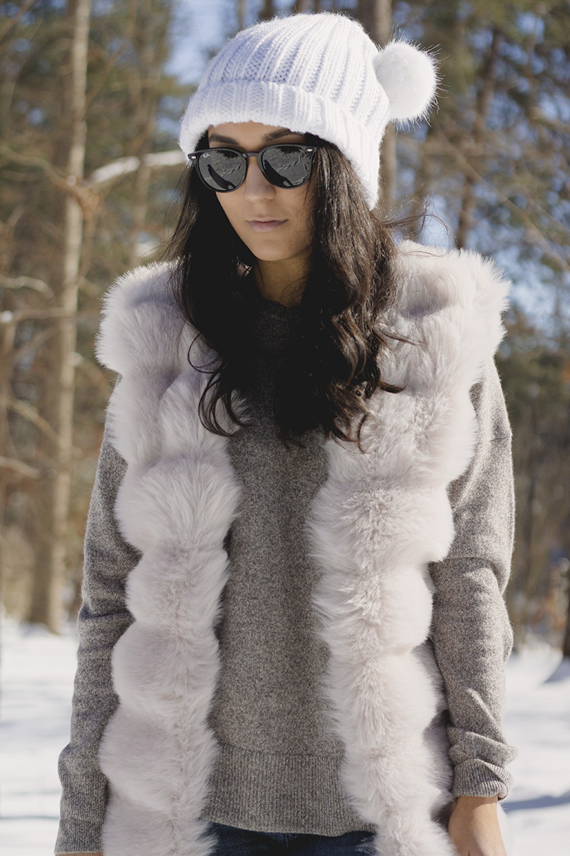 shein review - oversized faux fur vest