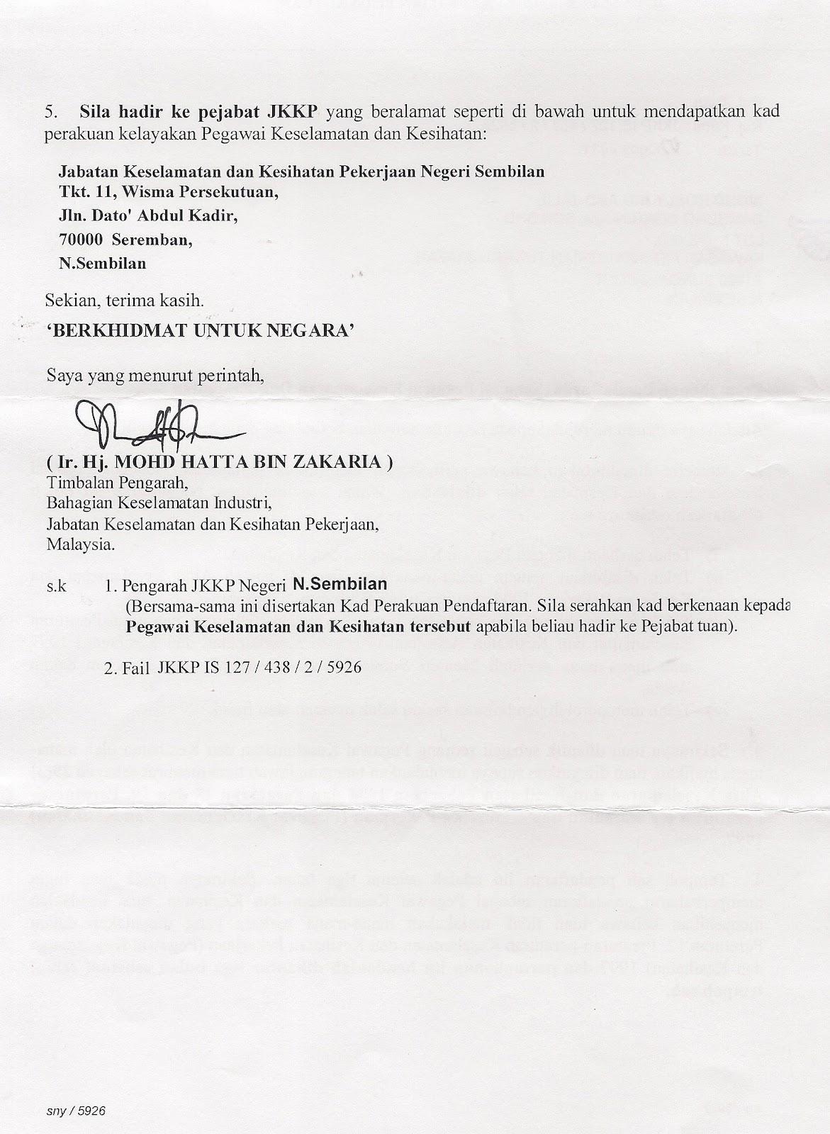 Mohd Rosly Abd Jalil Aku Jadi Sho Safety Health Officer
