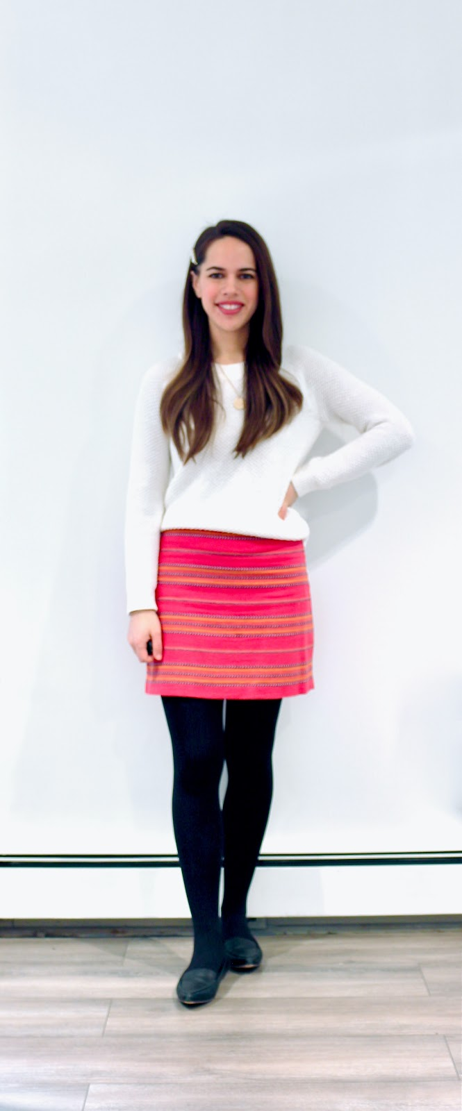 Jules in Flats - Striped Mini Skirt (Business Casual Winter Workwear on a Budget)