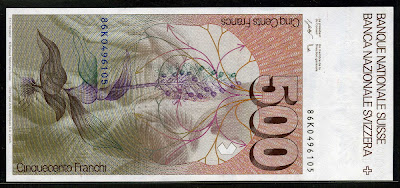 Switzerland paper money 500 Swiss Francs bank notes