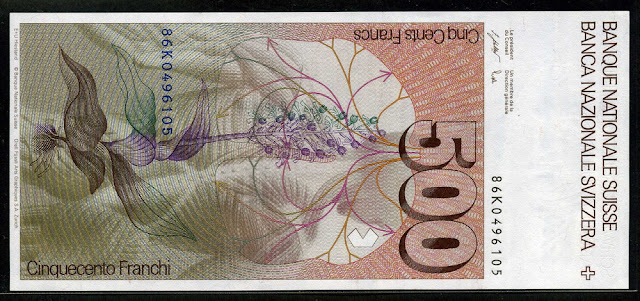Switzerland paper money 500 Swiss Francs bank notes